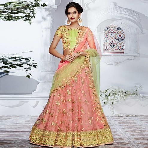 NAKKASHI - Excellent Peach Colored Party Wear Embroidered Net Lehenga Choli