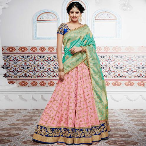 NAKKASHI - Flamboyant Pink Colored Party Wear Embroidered Tussar Silk Lehenga Choli