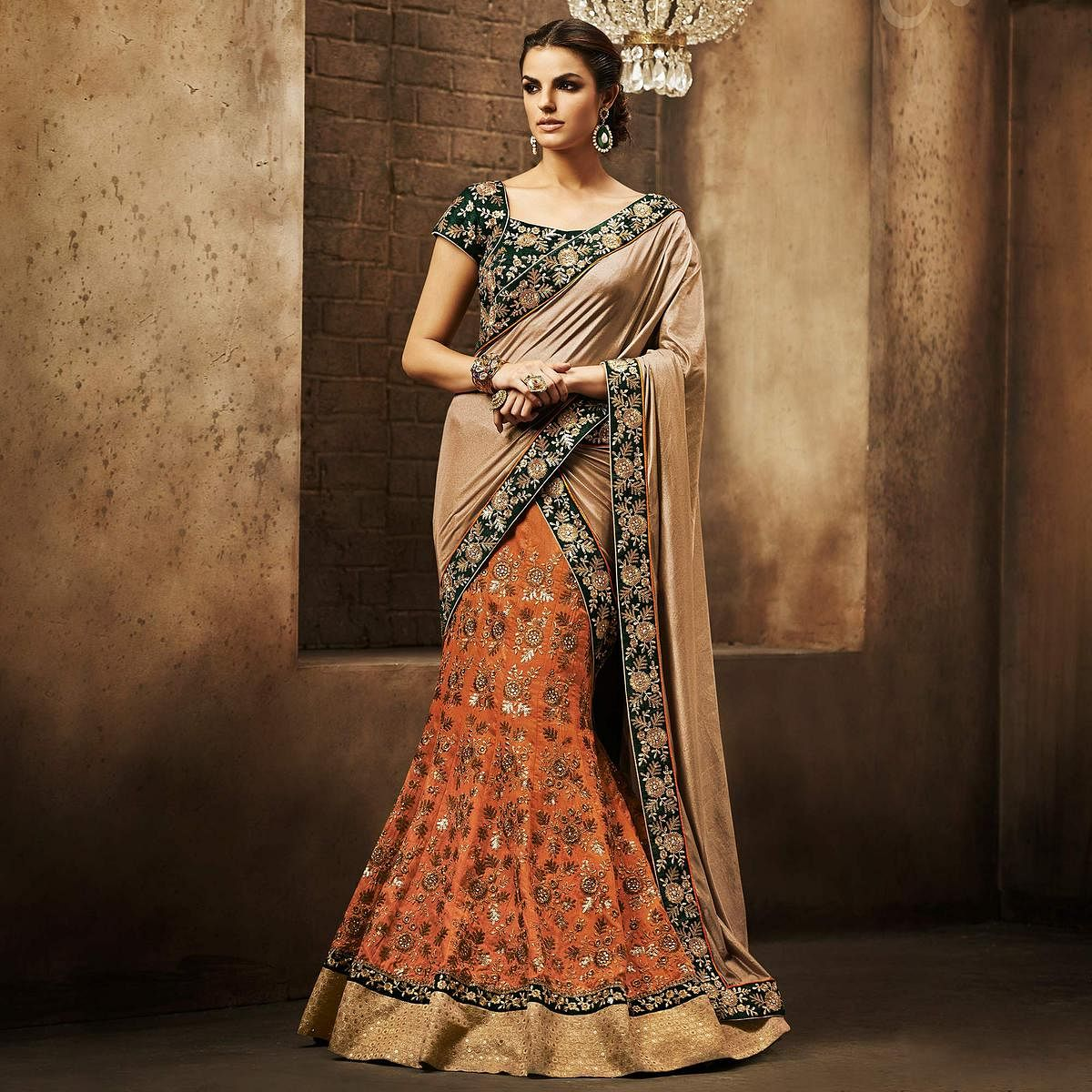 NAKKASHI - Unique Orange Colored Party Wear Embroidered Bhagalpuri Raw Silk Lehenga Choli
