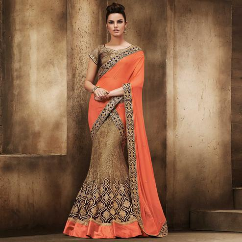 NAKKASHI - Refreshing Beige Colored Party Wear Embroidered Net Lehenga Choli