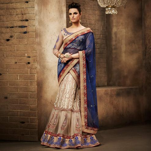 NAKKASHI - Hypnotic Beige Colored Party Wear Embroidered Net Lehenga Choli