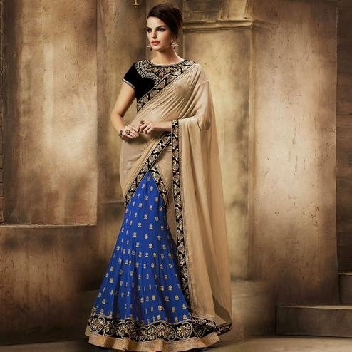 NAKKASHI - Excellent Blue Colored Party Wear Embroidered Georgette Lehenga Choli