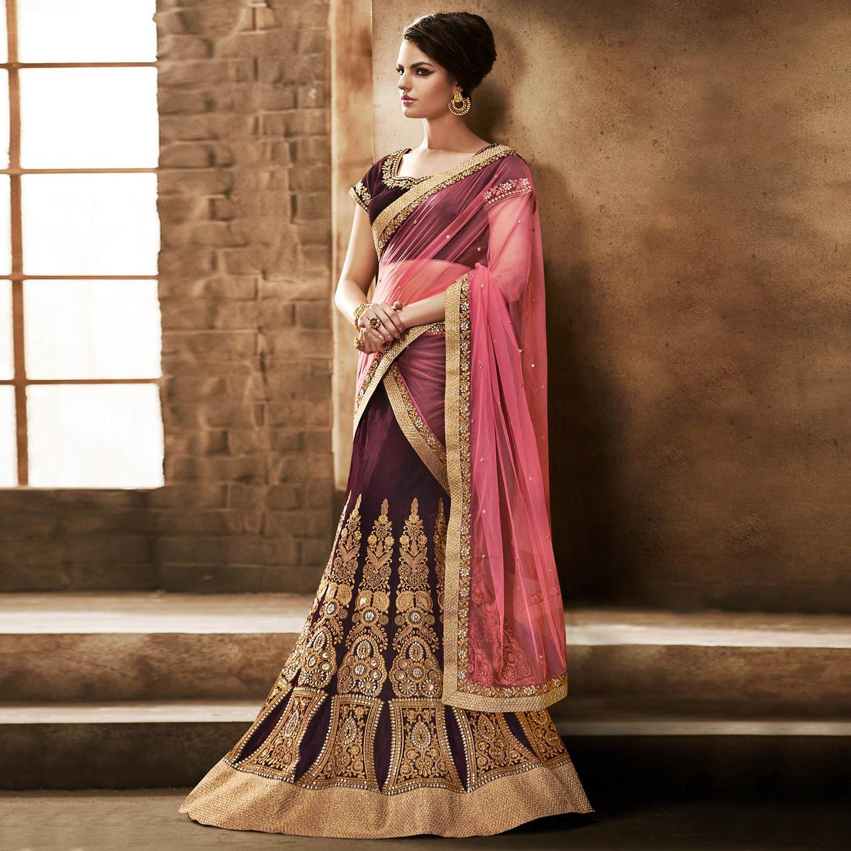 NAKKASHI - Preferable Maroon Colored Party Wear Embroidered Velvet Lehenga Choli