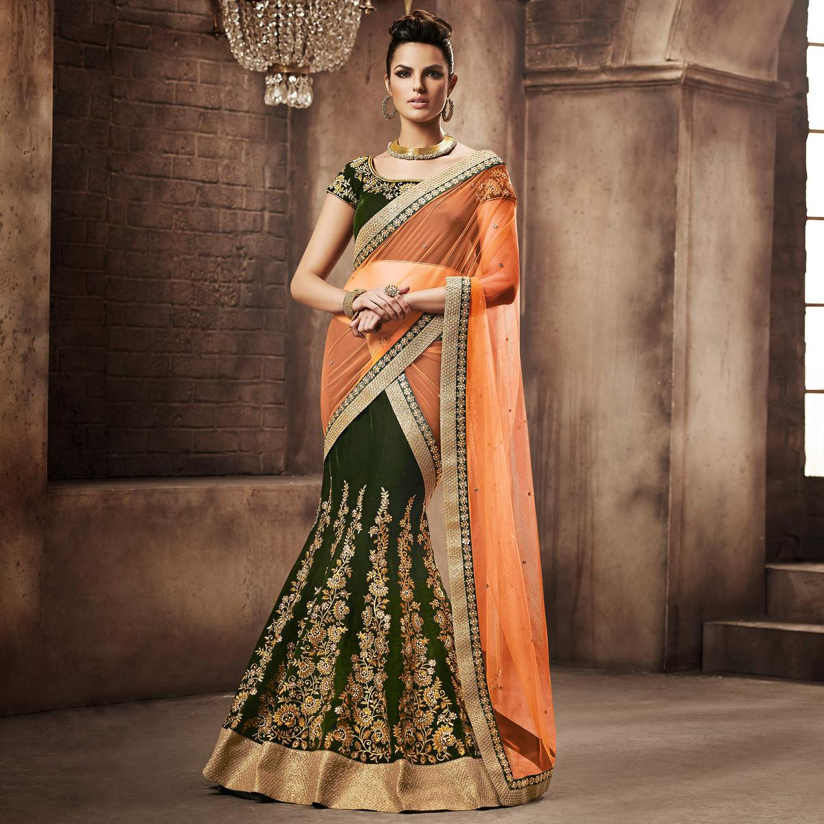 NAKKASHI - Marvellous Green Colored Party Wear Embroidered Velvet Lehenga Choli