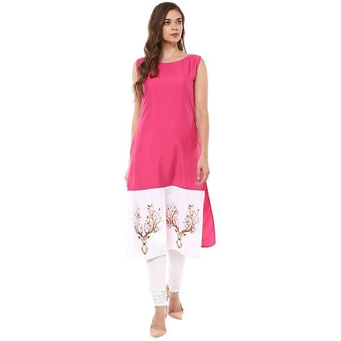 Ahalyaa - Women's Pink Colored Casual Wear Digital Printed Crepe Kurti