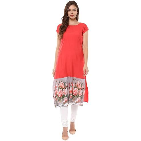 Ahalyaa - Women's Red Colored Casual Wear Digital Printed Crepe Kurti