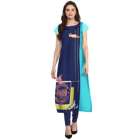 Ahalyaa - Women's Blue Colored Casual Wear Digital Printed Crepe Kurti