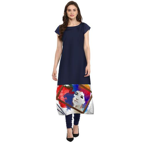 Ahalyaa - Women's Navy Blue Colored Casual Wear Digital Printed Crepe Kurti