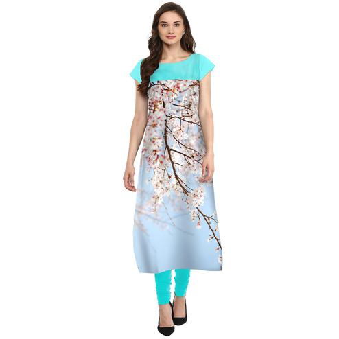 Ahalyaa - Women's Sky Blue Colored Casual Wear Digital Printed Crepe Kurti