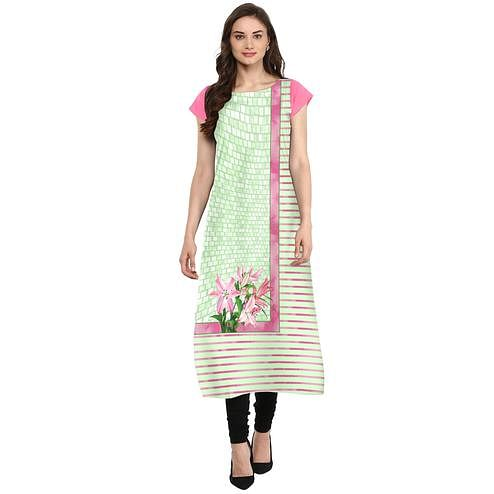 Ahalyaa - Women's Green Colored Casual Wear Digital Printed Crepe Kurti