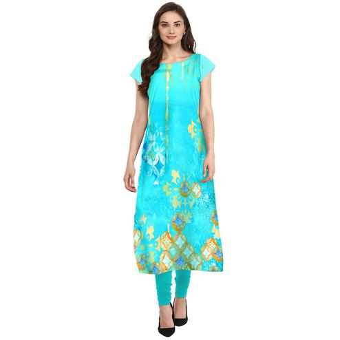 Ahalyaa - Women's Aqua Blue Colored Casual Wear Digital Printed Crepe Kurti
