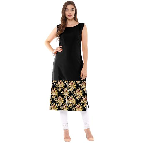 Ahalyaa - Women's Black Colored Casual Wear Digital Printed Crepe Kurti