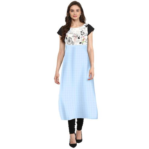 Ahalyaa - Women's Light Blue Colored Casual Wear Digital Printed Crepe Kurti