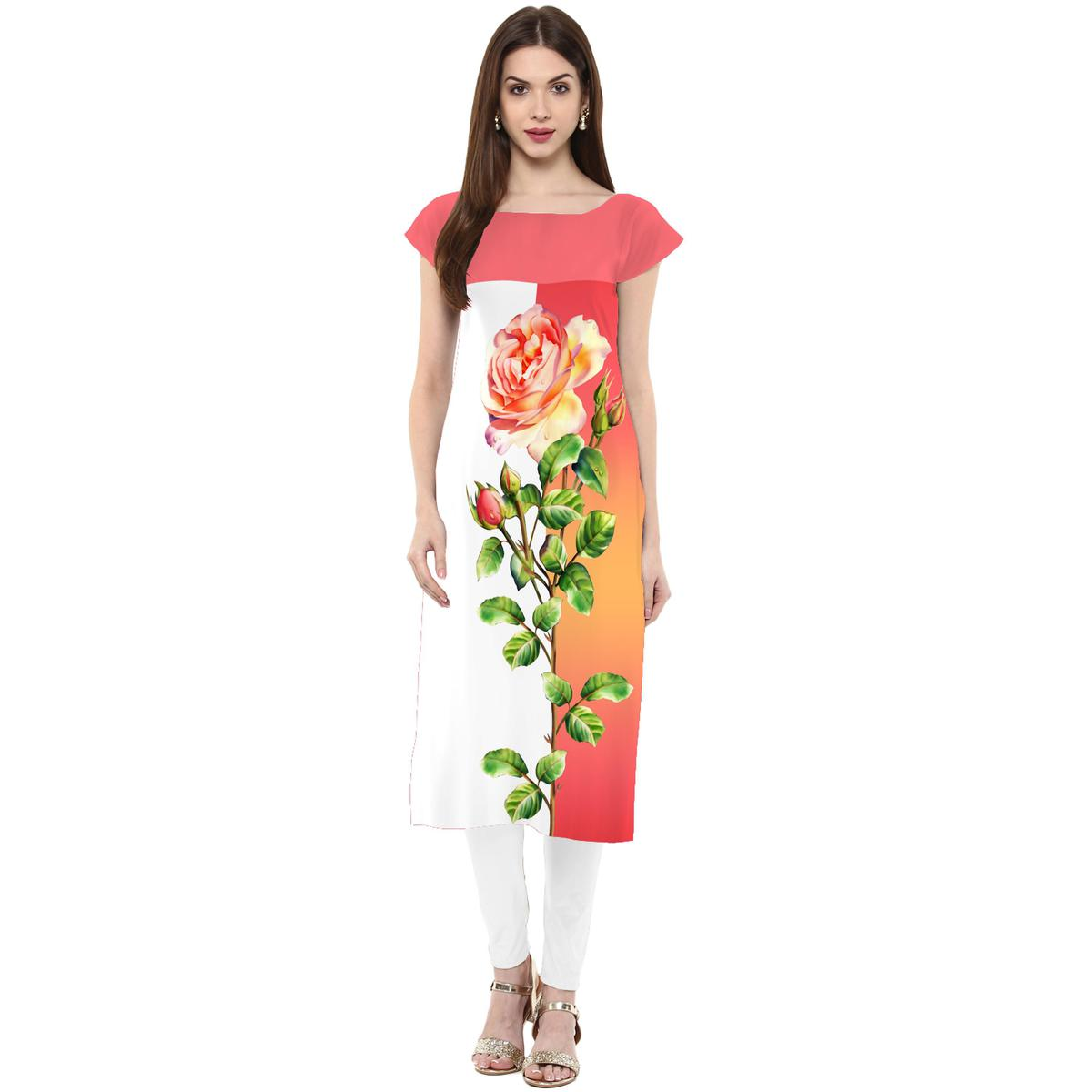 Ahalyaa - Women's Pink-White Colored Casual Wear Digital Printed Crepe Kurti