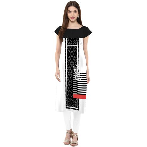 Ahalyaa - Women's Black-White Colored Casual Wear Digital Printed Crepe Kurti