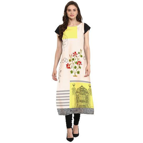 Ahalyaa - Women's Off White-Yellow Colored Casual Wear Digital Printed Crepe Kurti
