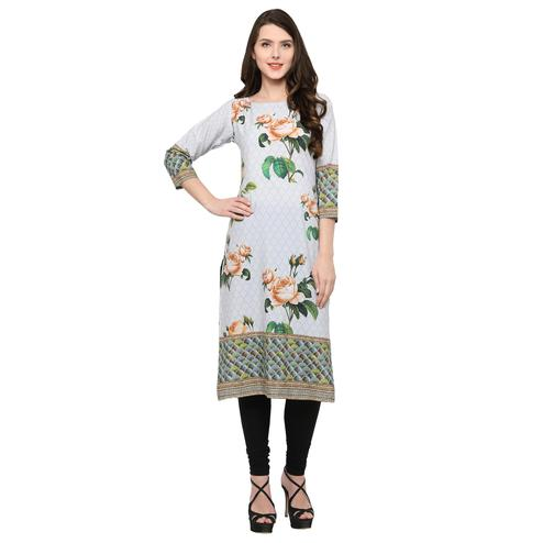 Ahalyaa - Women's Off White Colored Casual Wear Digital Printed Crepe Kurti