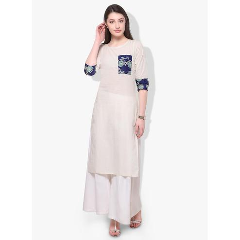 Ahalyaa - Women's White Colored Casual Wear Digital Printed Cotton Kurti