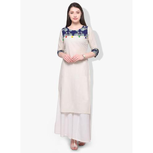 Ahalyaa - Women's White Colored Casual Wear Pigment Cotton Kurti