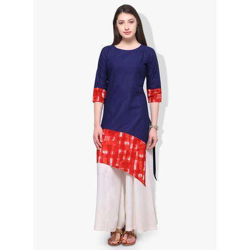 Ahalyaa - Women's Blue Colored Casual Wear Printed Cotton Kurti