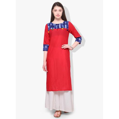 Ahalyaa - Women's Red Colored Casual Wear Printed Cotton Kurti