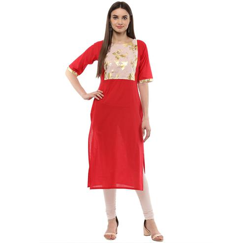 Ahalyaa - Women's Red Colored Casual Wear Foil Printed Cotton Kurti