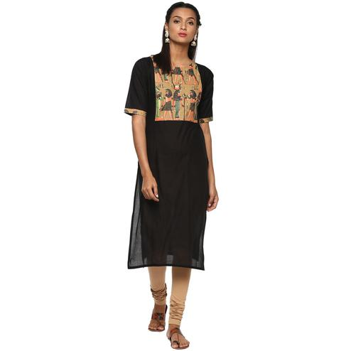 Ahalyaa - Women's Black Colored Casual Wear Pigment Cotton Kurti