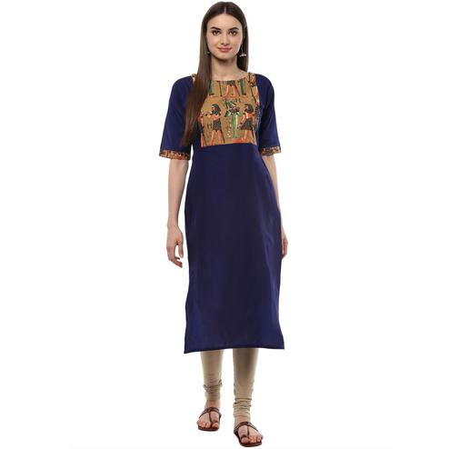 Ahalyaa - Women's Blue Colored Casual Wear Pigment Cotton Kurti