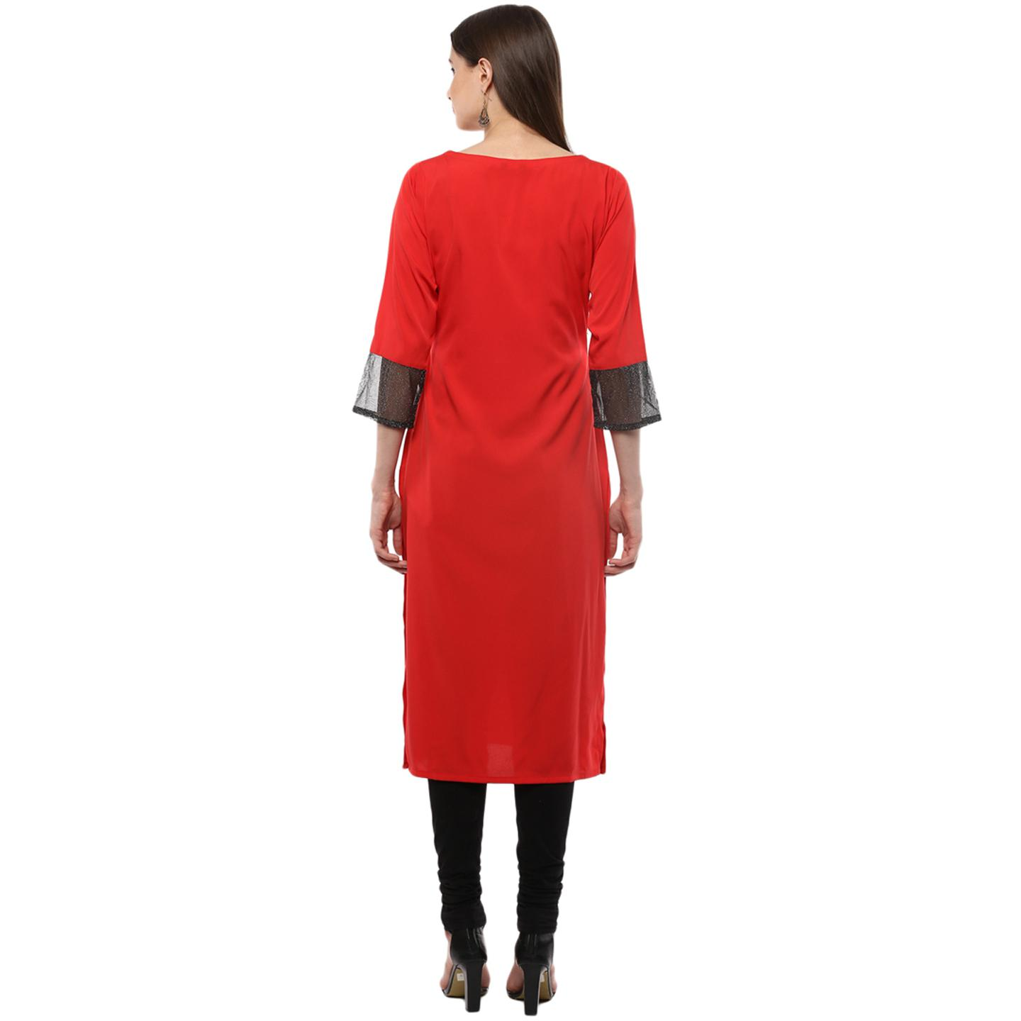 Ahalyaa - Women's Red Colored Casual Wear Solid Crepe Kurti