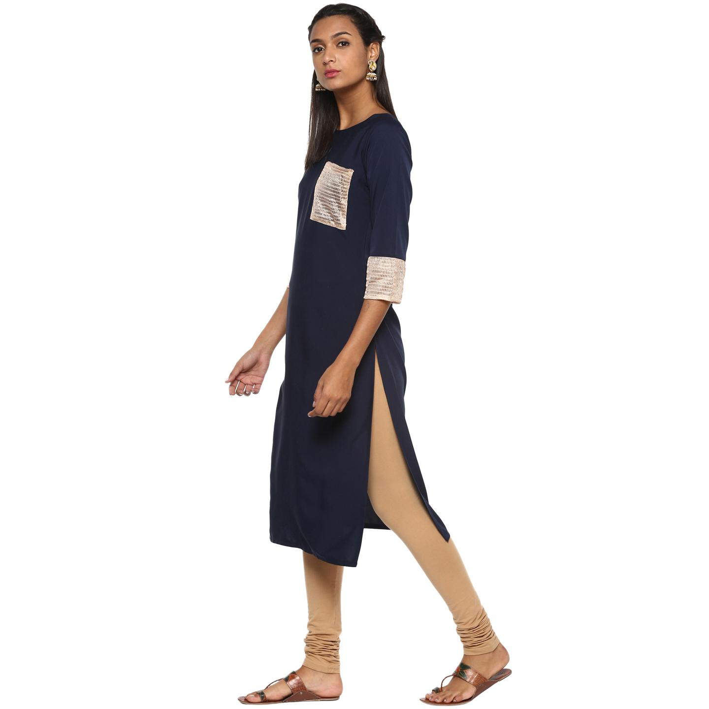 Ahalyaa - Women's Blue Colored Casual Wear Solid Crepe Kurti