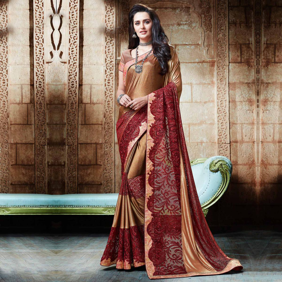 Stunning Golden - Maroon Embroidered Designer Partywear Saree