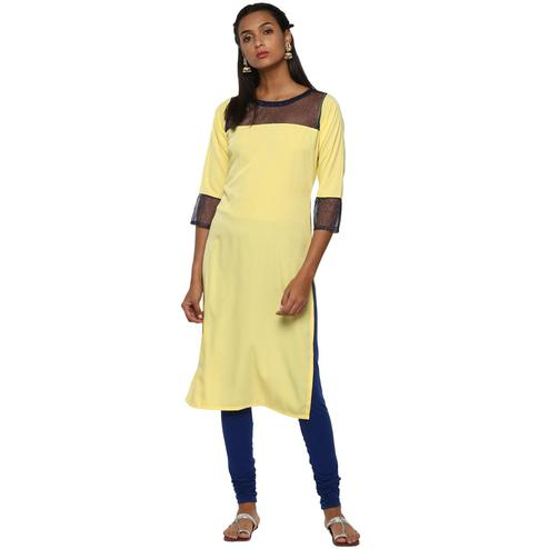 Ahalyaa - Women's Yellow Colored Casual Wear Solid Crepe Kurti