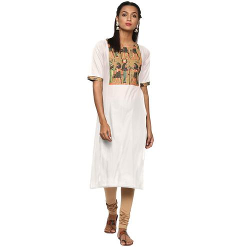 Ahalyaa - Women's Cream Colored Casual Wear Pigment Cotton Kurti