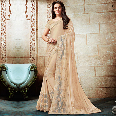 Splendid Beige Embroidered Designer Partywear Saree