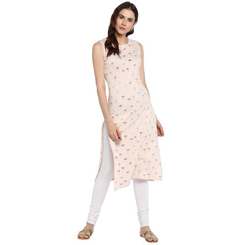 Ahalyaa - Women's Pink Colored Casual Wear Foil Printed Cotton Kurti
