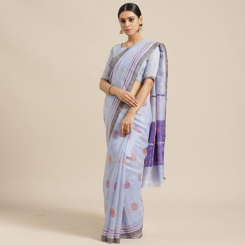 Adorable Sky Blue Colored Casual Wear Printed Art Silk Saree