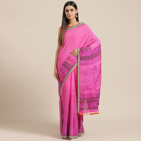 Beautiful Pink Colored Casual Wear Printed Art Silk Saree