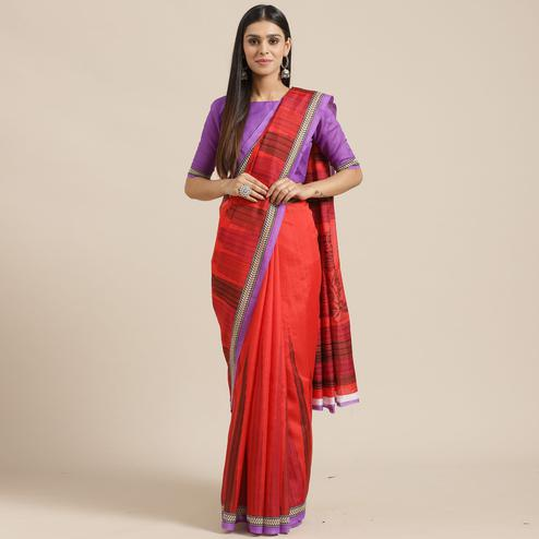 Graceful Red Colored Casual Wear Printed Art Silk Saree