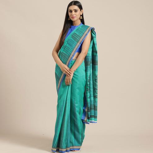 Blooming Green Colored Casual Wear Printed Art Silk Saree