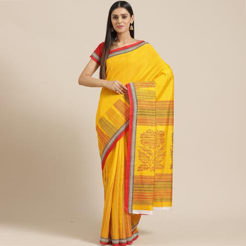 Charming Yellow Colored Casual Wear Printed Art Silk Saree