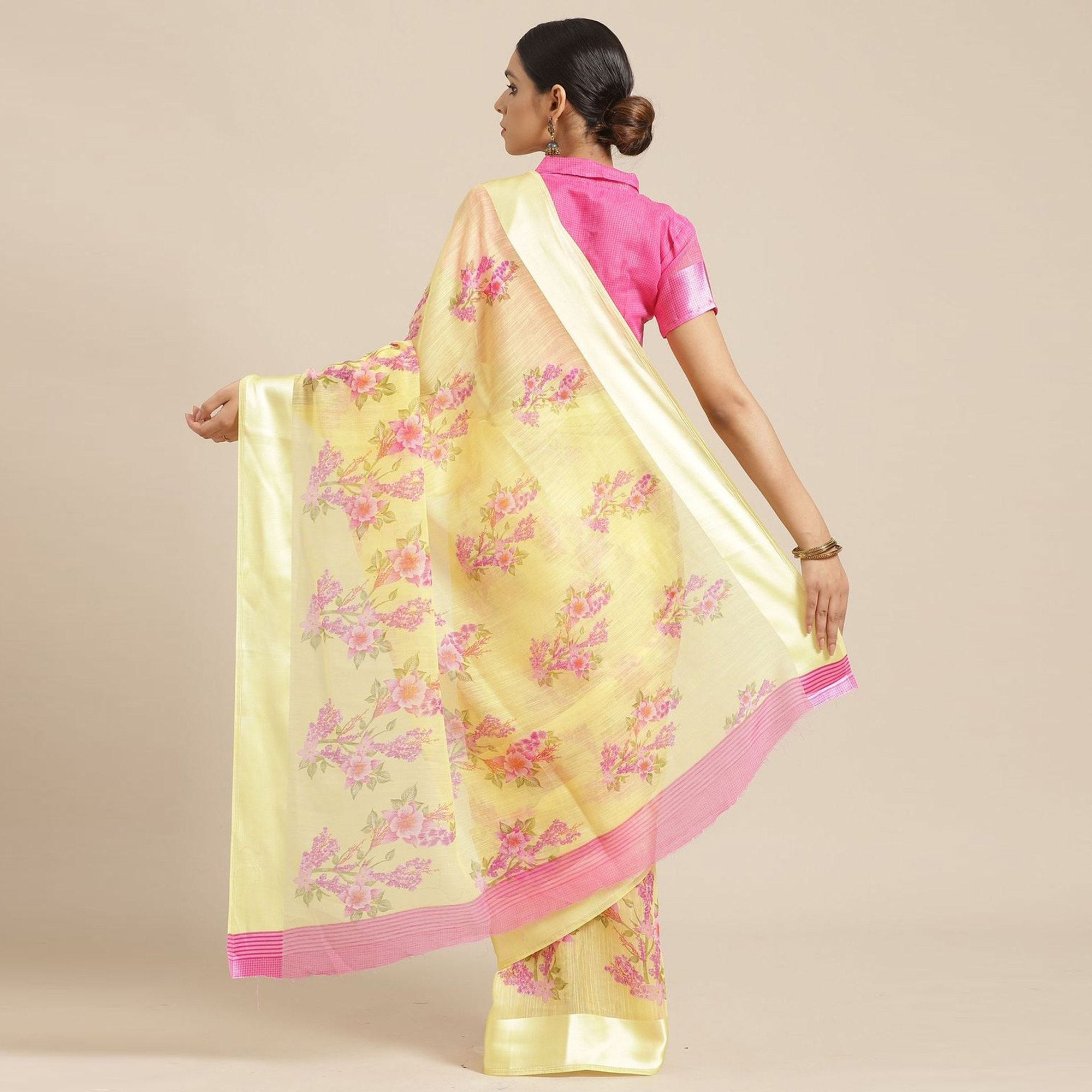 Jazzy Yellow Colored Casual Wear Printed Cotton Blend Saree
