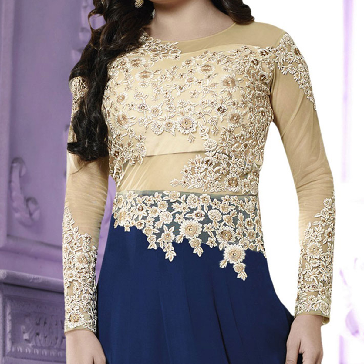 Tan - Navy Blue Georgette Anarkali