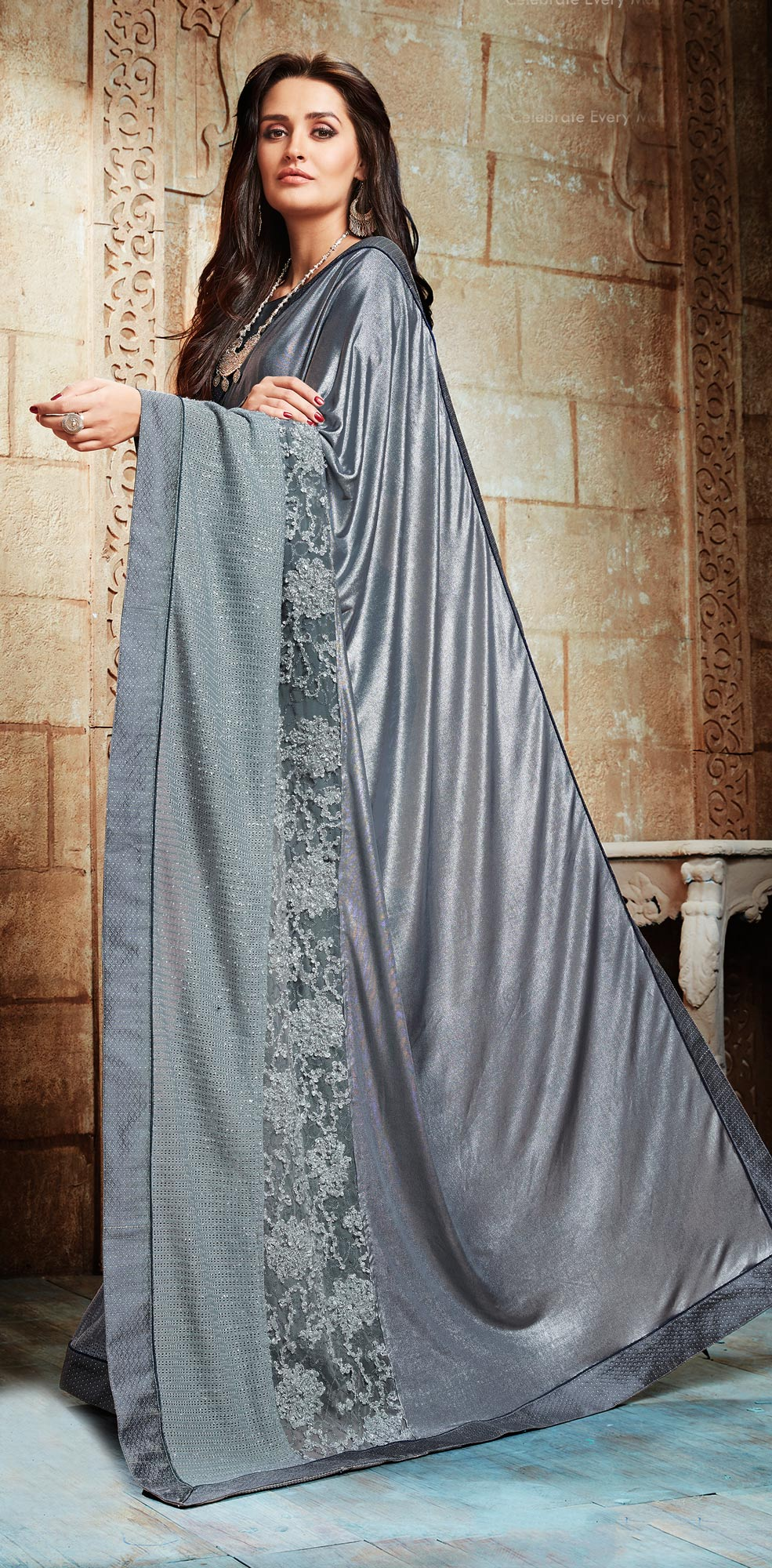 Glorious Grey Embroidered Designer Partywear Saree