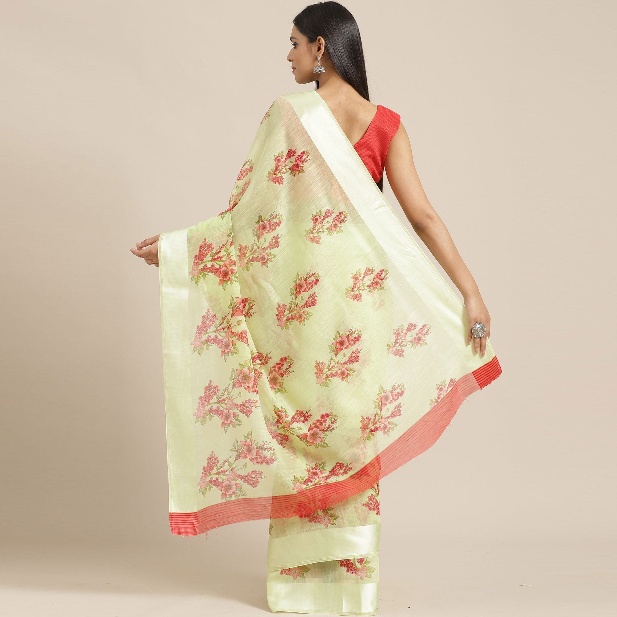 Delightful Light Green Colored Casual Wear Printed Cotton Blend Saree