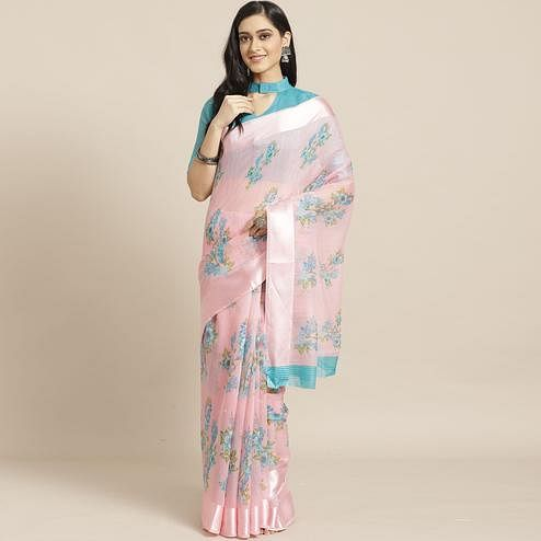 Captivating Pink Colored Casual Wear Printed Cotton Blend Saree