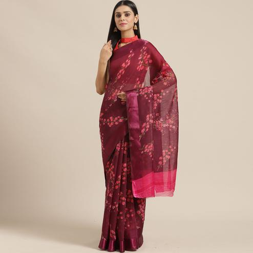 Innovative Wine Colored Casual Wear Printed Cotton Blend Saree