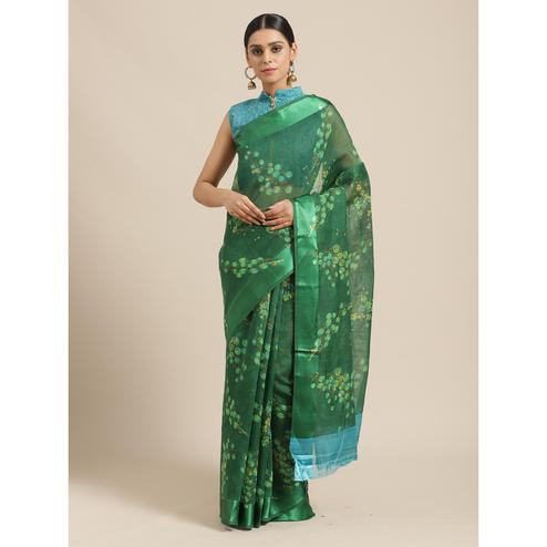 Fantastic Green Colored Casual Wear Printed Cotton Blend Saree