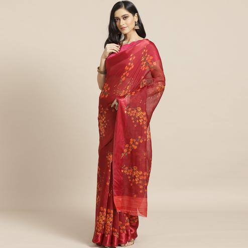 Amazing Maroon Colored Casual Wear Printed Cotton Blend Saree