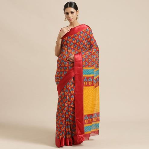 Blissful Red Colored Casual Wear Printed Cotton Blend Saree