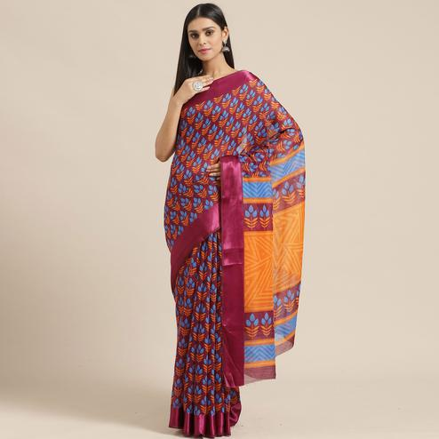 Ideal Wine Colored Casual Wear Printed Cotton Blend Saree